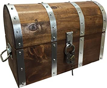 Amazon.com: Wood Reveals Handmade Lockable Treasure Chest - Large Original  Pirate Chest, Chest with Antique Padlock, Big Wooden Trunk: Home Improvement